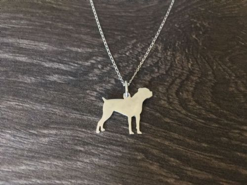 American Cane corso pendant sterling silver handmade by saw piercing Caroline Howlett Design